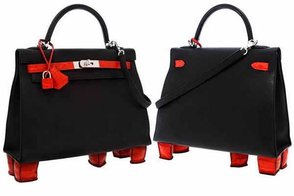 624f4566387 O recorde da mala Hermès Kelly mais cara pertence a uma Hermès 32cm Matte  Geranium Porosus Crocodile   Black Togo Leather Sellier Kelly Bag com pés.