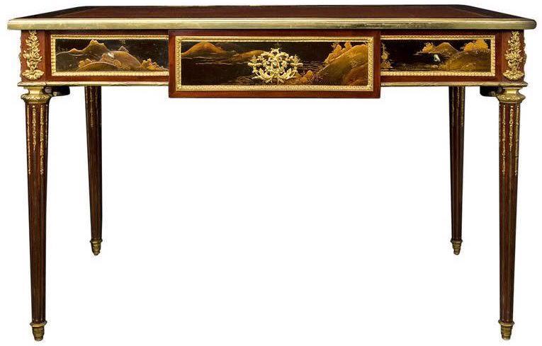 Tische Und Schränke Ein Weiteres Schönes Stück In Dieser Sammlung Ist  Dieser Schreibtisch Aus Obstholz Mit Floraler Einlegearbeit Im Stil Von  Paul Charles ...