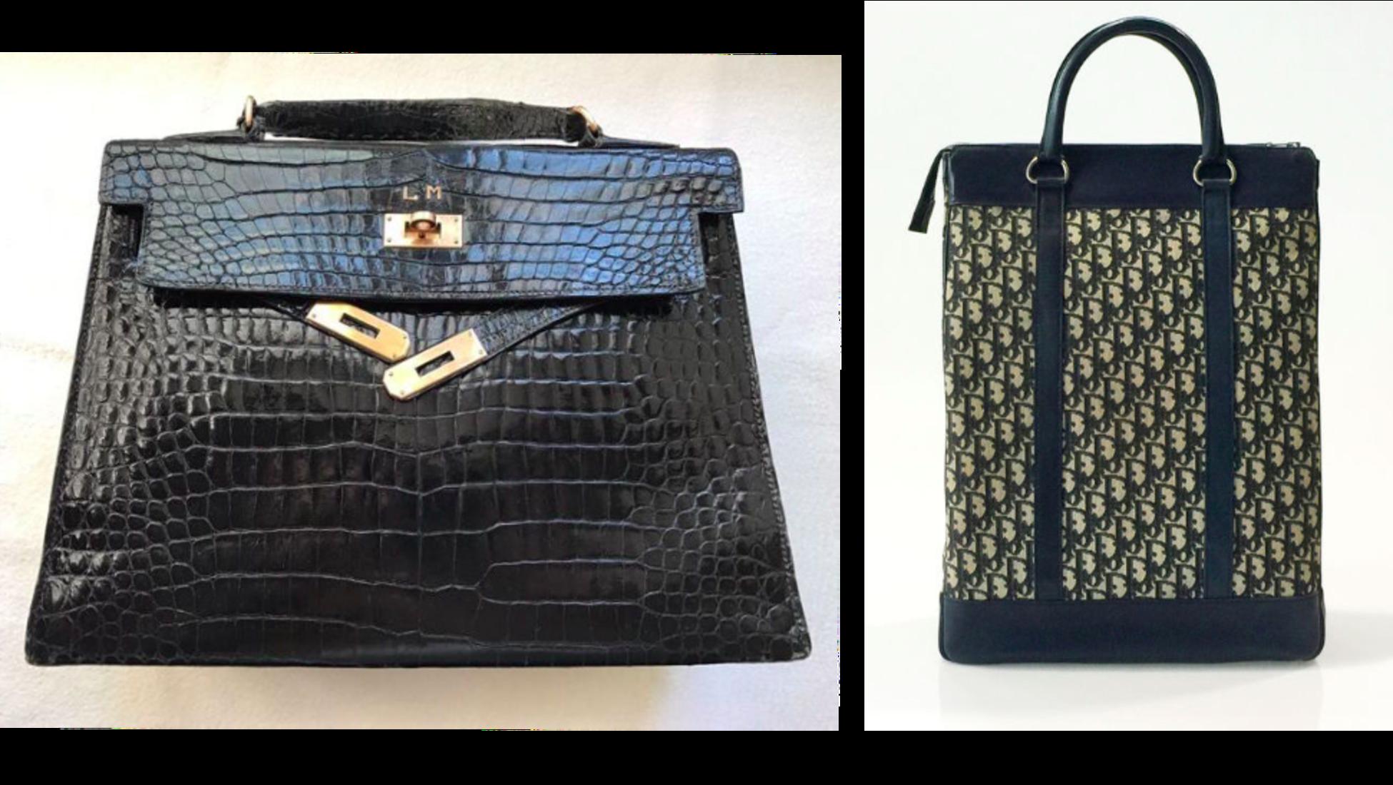 f222899bc178 Vänster: Hermès Kelly 32 väska- såld för 8 500 euro på Catawiki. Höger:  Christian Diors 70's big bag- såld för 701 euro på Catawiki.