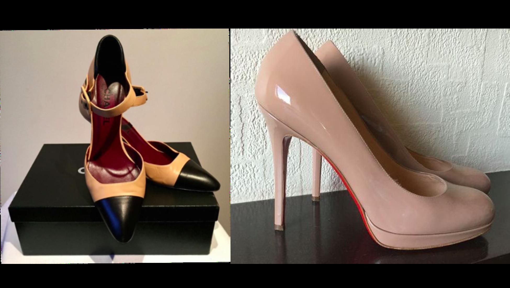 58e2299856d8 Vänster: Chanel Court skor- sålda för 270 euro på Catawiki. Höger: Klassiska  Louboutin skor- sålda för 410 euro på Catawiki.