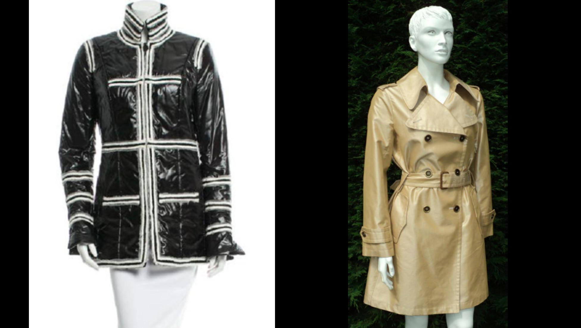 À gauche   veste Chanel - vendue pour 387 € sur Catawiki. À droite   trench  Burberry - vendu pour 319 € sur Catawiki. Prix de réserve raisonnables 57fa79597e4