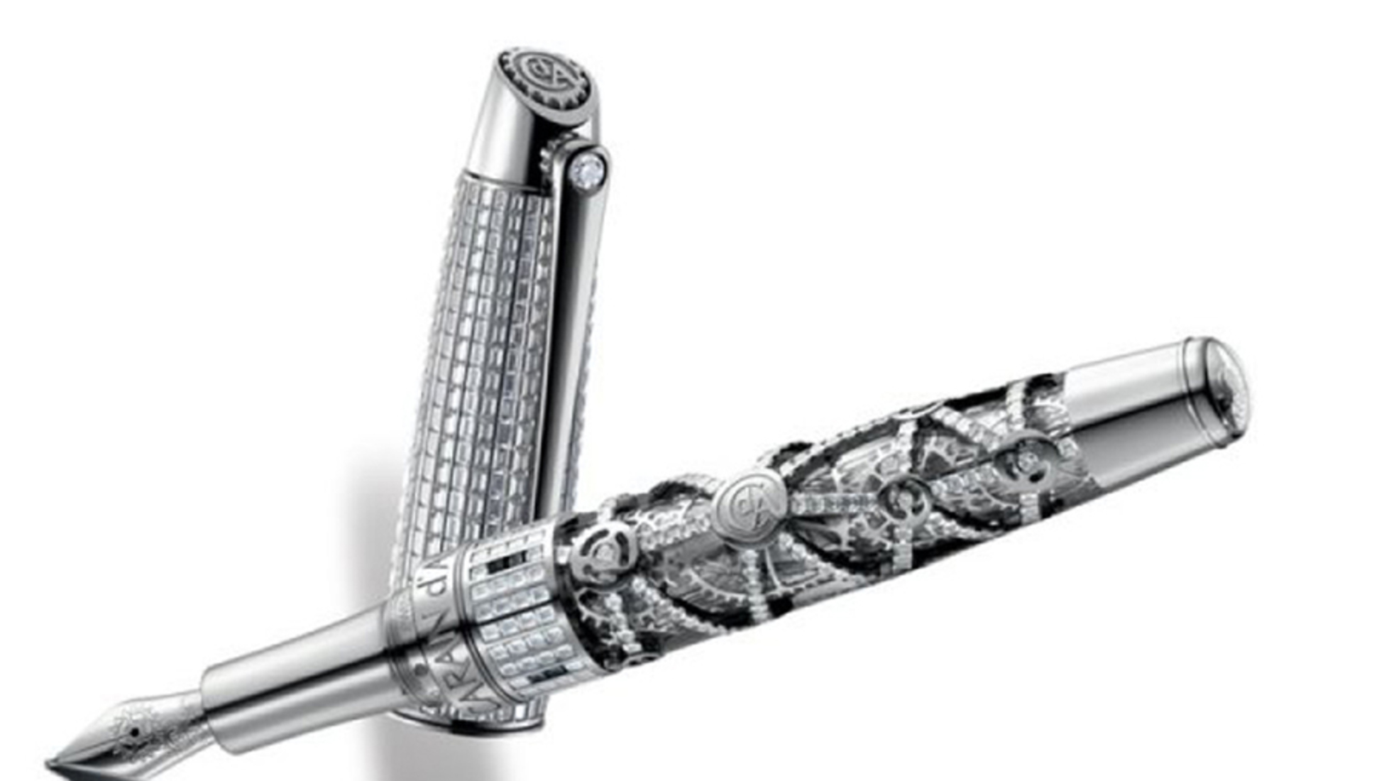 """Pure as a Mozart aria, the Montblanc Meisterstück Mozart Jewelry """"Rosé""""  fountain pen comes in pearly white lacquer finely engraved with a pattern  of ..."""