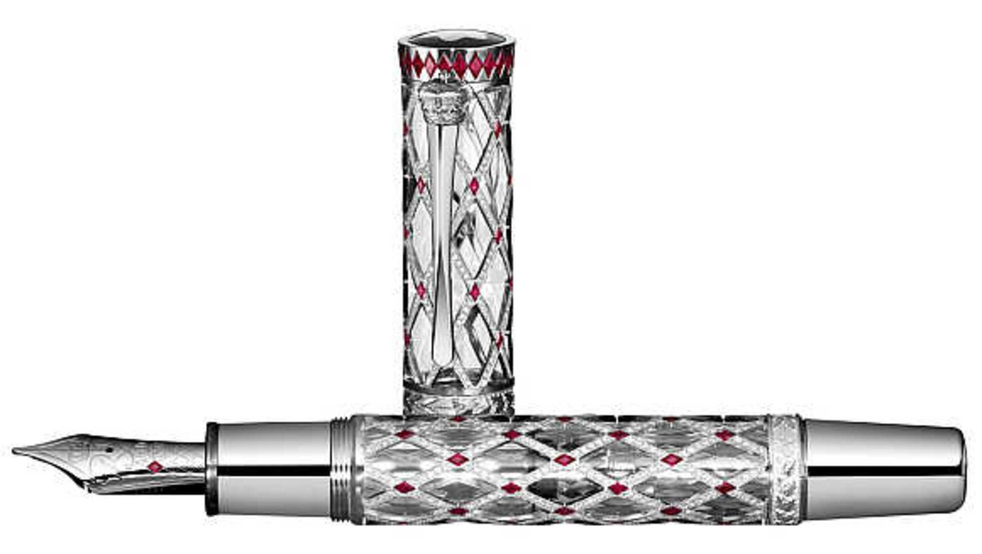 9118ec95270 Le stylo affiche des motifs en or blanc avec 996 diamants et 92 rubis