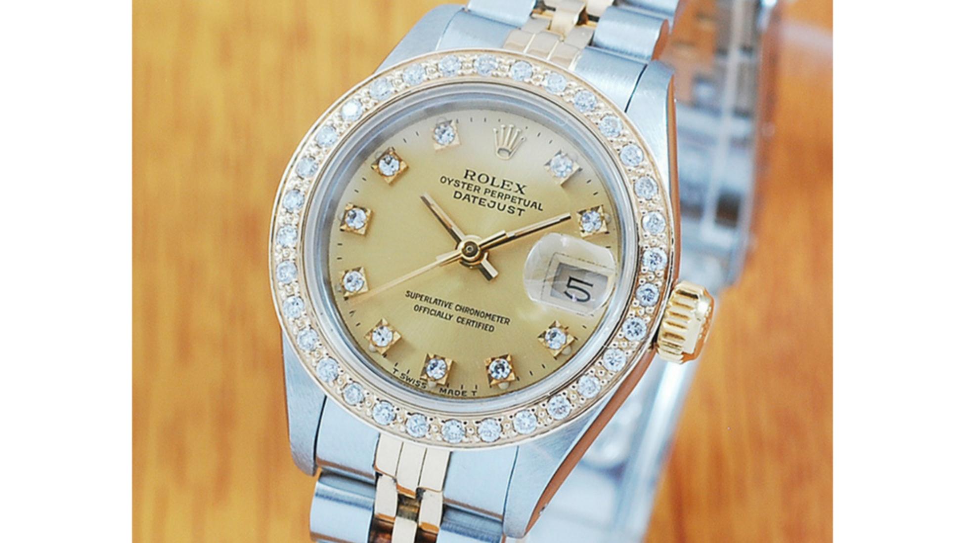 d260be22b66b Reloj Rolex Datejust automático para mujer en oro de 18 K y acero  inoxidable y con bisel de diamantes